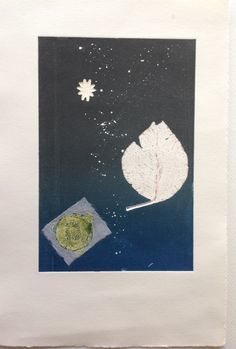 Nino Bellantonio. Still Life, By moonlight: Monoprint on Stonehenge paper with Chine Colle. Image size 12.5cm x 19cm. SOLD