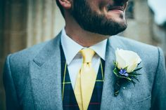 Rose Buttonhole Groom Tartan Waistcoat Yellow Tie Meadow Marquee Home Made Wedding http://www.faircloughphotography.co.uk/