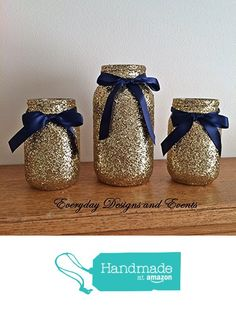 Set of 3 Jars Navy Blue and gold mason jar set, centerpiece set, mason jars, centerpiece, Wedding Centerpieces, Gold Wedding, Gold Vases, Gold Party Decorations, Gold Birthday from Everyday Designs and Events https://www.amazon.com/dp/B01N6FTNAD/ref=hnd_sw_r_pi_dp_IzxEybYH41C0B #handmadeatamazon