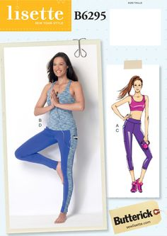 Butterick Misses' Criss-Cross Bra Top, Top and Leggings Partially lined, pullover bra top and top have elasticized shoulder strap variations and casing. Sewing Pants, Sewing Clothes, Clothing Patterns, Sewing Patterns, Sewing Ideas, Shirt Patterns, Paper Patterns, Fashion Patterns, Diy Clothing