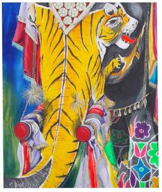 ARTFINDER: Indian Elephant by Kirsten Todd by Kirsten Todd - Acrylic on Canvas. Painting of an Indian elephant during a festival. I love the fact the elephant has been decorated with a tiger and you have to look twice ...