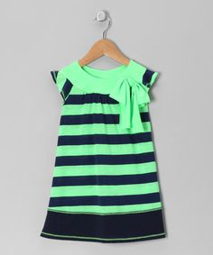 Take a look at this Lime & Navy Stripe Angel-Sleeve Dress - Toddler & Girls by Pink Vanilla on #zulily today!
