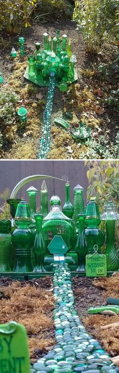 Vintage Green Glass Fairy Garden. &  40 Fabulous DIY Fairy Garden Ideas - Hative