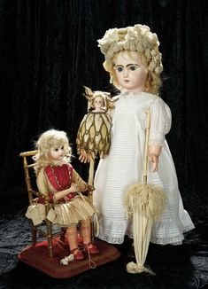 "Soirée: A Marquis Cataloged Auction of Antique Dolls and Automata - May 14, 2016: Lot 152. French Musical Automaton ""Little Girl Knitting"" by Roullet et Decamps"