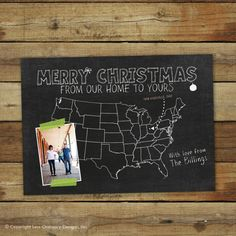 Chalk board Map Christmas card, moving announcement, we've moved on Etsy, $17.00