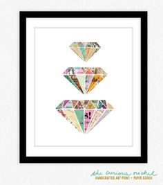 Colorful Diamonds Art Print  Collage Art Print by TheCuriousNickel, $15.00
