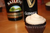 Irish Carbomb Cupcakes!     Guinness chocolate cupcakes with Baileys buttercream. Best part? It keeps its kick.