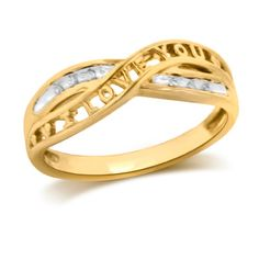"""Diamond Accent Criss-Cross """"I LOVE YOU"""" Anniversary Band in Sterling Silver and 10K Gold Plate - Zales"""