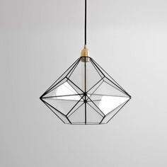 Triakis Octahedron Big Geometric Chandelier / Warm Vintage Bulb Lamp / Glass Geometric Lighting / Re - Poppinss Glass Chandelier, Pendant Lighting, Large Chandeliers, Pendant Lamps, Triangulo Isosceles, Ceiling Fixtures, Ceiling Lights, Geometric Lamp, Brass Lamp