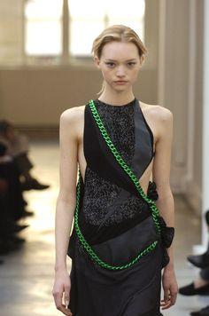 #Balenciaga #NicholasGuesquiere #Neon #Chain #LBD #Details #Runway #GemmaWard #Style #Fashion #BiographyInspiration