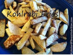 Kohlrabi Fries- Clean, healthy alternative to French Fries, but look and taste like the real thing and only 36 calories per serving!