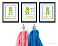 Frog Bathroom Kids Art  Set of Three Bathroom Decor by krankykrab, $25.00