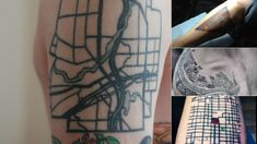 Tattoos, just like hometowns, leave a permanent mark. If you harbor a special attachment to a city or town—even if you left long ago—inking it on your body forever is often a fitting tribute. Map Tattoos, Tatoos, Downtown Mexico City, Karten Tattoos, City Tattoo, Tattoo Shows, Location Map, City Maps, Art Deco