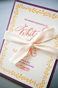 Oh So Beautiful Paper: Whitney + A.K.'s Colorful Letterpress Wedding Invitations