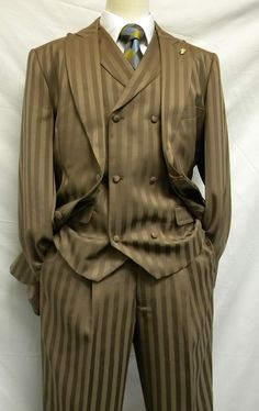 Falcone Tan Satin Stripe Mat Vest Fashion Suits 380-098