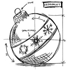 Tim Holtz Red Rubber Stamp - Ornament Sketch - Click to enlarge