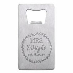 Personalized Mrs. Right Wedding Wallet Bottle Opener - Custom Engraved