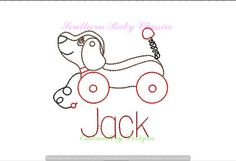 Vintage Stitch Retro Pull Toy Dog Design Vintage Quick Stitch File for Embroidery Machine Instant Download Boy Heirloom Toys by SouthernBabyClassics on Etsy