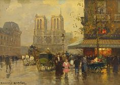 EDOUARD CORTÈS 1882 - 1969 PLACE SAINT MICHEL VERS NOTRE DAME signed Edouard Cortès. (lower left) oil on canvas 13 by 16 in.; 33 by 40.6 cm. Painted in 1951