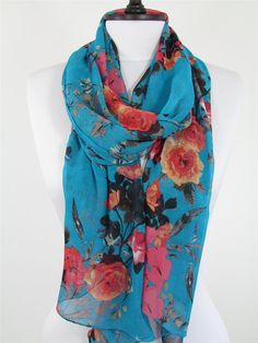 Hey, I found this really awesome Etsy listing at https://www.etsy.com/listing/253451253/floral-scarf-blue-scarf-shawl-infinity