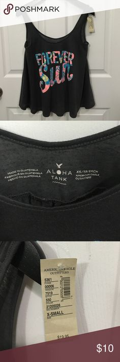 """NWT American Eagle Outfitters Top XS NWT American Eagle Outfitters """"FOREVER SUN"""" sheer dark gray Aloha Tank XS!  😍 Bundle and save 😎 American Eagle Outfitters Tops Tank Tops"""
