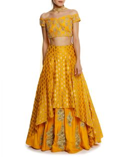 Indian, Khadi Embroidered Blouse With Yellow Kalash Khadi High Low Lehenga And Yellow Kalash Print Dupatta Indian Fashion Dresses, Indian Designer Outfits, Designer Dresses, Fashion Outfits, Designer Sarees, Choli Designs, Lehenga Designs, Blouse Designs, Dress Designs