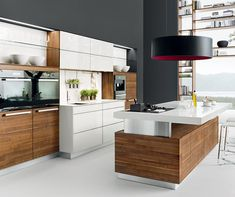 Eco friendly kitchen design celebrates natural wood, creating fabulous, exclusive and modern kitchen furniture Kitchen Design Open, Modern Kitchen Island, Modern Kitchen Cabinets, Best Kitchen Designs, Glass Kitchen, Wooden Kitchen, Interior Design Kitchen, Kitchen Furniture, Kitchen Ideas