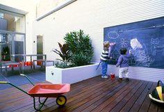 Stijlvolle manier om een krijtbord in de tuin te integreren