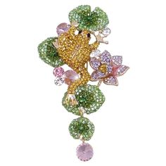 EVER FAITH© Gold-Tone Pond Frog Lotus Brooch Brown w/ Green Austrian Crystal *** A special jewelry just for you to view. See it now! : Jewelry Trends