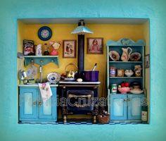Cocina para Niña, con miniaturas, Hecha a pedido. http://cruzatartesaniacolor.blogspot.com/