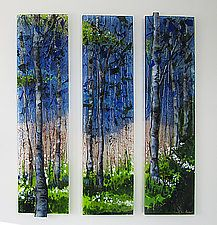 "Tree Scape Triptych by Alice Benvie Gebhart (Art Glass Wall Sculpture) (27"" x 30"")"
