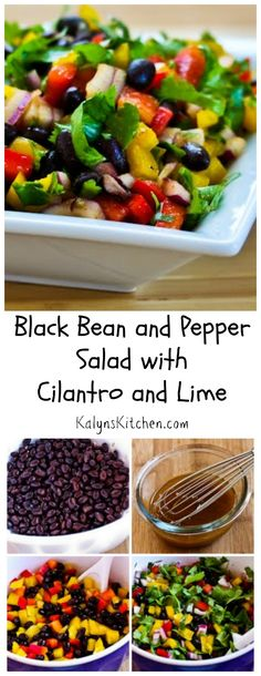 This festive Black Bean and Pepper Salad with Cilantro and Lime is perfect for summer holiday get-togethers, and this colorful salad is always a hit.  I like this with a generous amount of chopped cilantro, but you can substitute thinly sliced green onion if you're not a cilantro fan. #Vegan #GlutenFree [from KalynsKitchen.com]