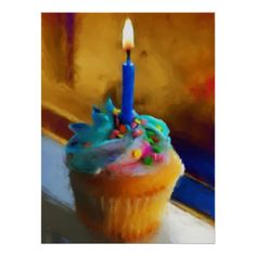 Cupcake With Candle Fine Art Print
