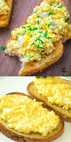 Scrambled Egg Toast - This scrambled egg toast is so easy to prepare, fill and . - Scrambled Eggs Toast – This scrambled egg toast is so easy to prepare, fill, and so incredibly ta - Egg Recipes, Vegan Recipes Easy, Brunch Recipes, Breakfast Recipes, Dinner Recipes, Cooking Recipes, Breakfast Ideas, Breakfast Crockpot, Healthy Egg Breakfast
