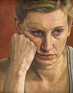 """Emma"" - Antony Williams, egg tempera, 2009 {figurative art female head woman face portrait cropped painting} antony-williams.com"
