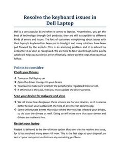 Resolve the keyboard issues in Dell Laptop