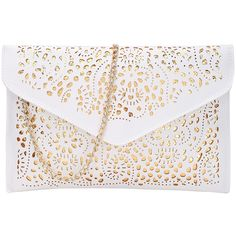 SheIn(sheinside) Laser Cut Envelope Clutch With Chain ($13) ❤ liked on Polyvore featuring bags, handbags, clutches, white envelope clutch, chain purse, chain handbags, white clutches and envelope clutch bag