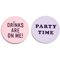 BAN.DO It's The Drinks Talking Coasters - Set of 16 ($11) ❤ liked on Polyvore featuring home, kitchen & dining, bar tools, pink, beverage coaster sets, pink coasters, round coasters, drink coaster set and beverage coaster