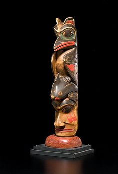 """Zacharias Nicholas Haida Carved Totem Three figures painted in red, blue, and black mounted on a red semi-circular base, height 26.75 in. late 19th century Zacharias Nicholas is best known as the carver for the """"Chicago Settee"""", located in the Field Museum, Chicago. A similar carving was offered at Sotheby's May 1996 American Indian Auction (Lot 212). Further discussion about the Chicago Settee Carver can be found in American Indian Art Magazine 2009: 68-72. Sold: $21,150.00"""