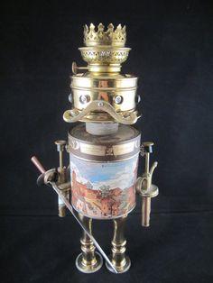 Otto Schmidt Bot - found object robot sculpture assemblage by Cheri Kudja with Bitti Bots $275