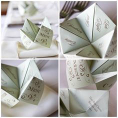 DIY cootie catcher (chatterbox) wedding menus via Oh Lovely Day photo by Jennifer Roper