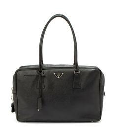 Prada Pre-Owned: black textured leather handbag
