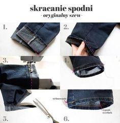 skracanie spodni instrukcja, poprawki second hand