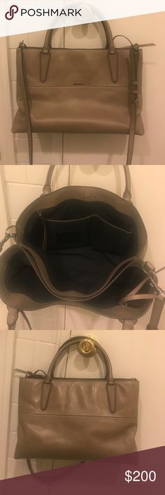 Coach Burrough bag! Beautiful authentic Burrough coach bag! Genuine leather ! Wear with strap or without! Burrough bag. Soft, smooth leather in grey birch!! 5 pockets for the 5 NYC Burroughs :-) Coach Bags Crossbody Bags