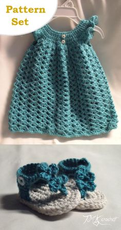 Crochet Baby Dress and Bow Sandal PDF Pattern Set