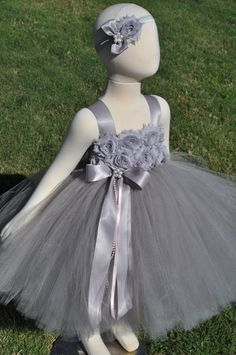 Shades of Grey Silver Flower Girl Dress by SweetiekinsBoutique