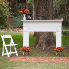 LOVE the idea of a standing mantel for ceremony details/accoutrements. - In Bliss Weddings
