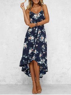 8600f3b33de Bohemian Floral Print High Low Midi Dress