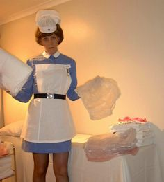 """babymilestailsprowerandfriends: """" freelyelegantgiver: """" thenappylover: """" Nurse Jenny insists you get pinned into these nappies! Me first 😛 """" I would do whatever Nurse Jenny tells me to do. """" me wanna. Pvc Hose, Baby Live, White Apron, Plastic Pants, Little Man, Cloth Diapers, Maid, Blue Dresses, Women Wear"""