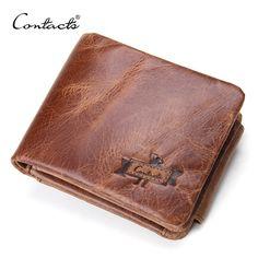 CONTACT'S 정품 미친 말 가죽 남성 지갑 빈티지 삼단 지갑 지퍼 동전 포켓 지갑 소 가죽 지갑 남성